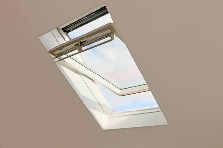 Interior shot of a roof window skylight respectively