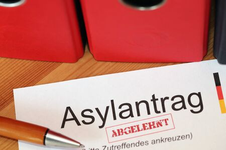 Application form for asylum with rejected stamp in Germany Stock fotó