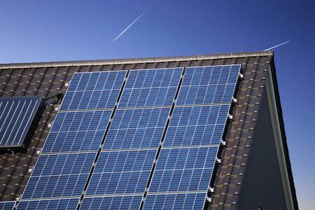 Roof with solar panels (photovoltaics) Foto de archivo