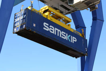 Close up of the shipment of a container (Mannheim, Germany, March 23, 2020) Editorial