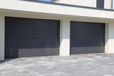 Two modern new garage doors (sectional doors) Banco de Imagens