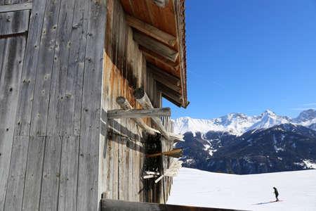 The skiing area of Serfaus, Fiss, Ladis in winter Banco de Imagens