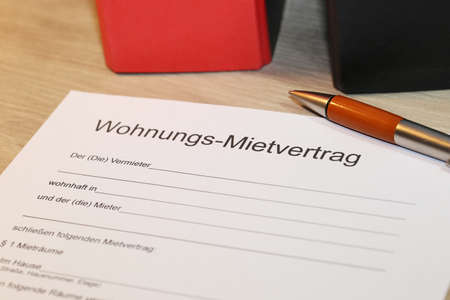 Blank form of a rental contract for an apartment in german letters