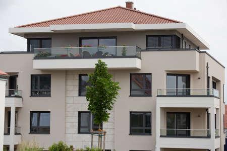 Modern apartment building in urban style Banco de Imagens