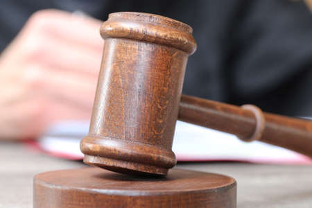 Close up of judge's gavel as symbol image for judgment