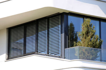 Window with modern venetian blind