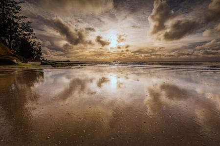 wide  wet: reflection of cloud over Tindakos dazang Beach Kudat Borneo Malaysia Stock Photo