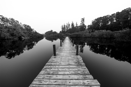 monocrome: high key wooden jetty monocrome Stock Photo