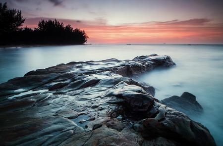 Long exposure sunset seascape at Kudat Sabah Malaysia. image contain soft focus due to long exposure.