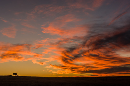 Clouds glowing red after the sun has set in the Free State, South Africa