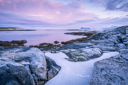Early morning photograph of a scenic seascape in Sommaroy, Norway