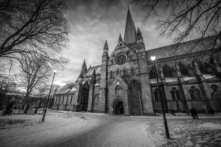 A Gothic church photographed in black and white in Trondheim; Norway
