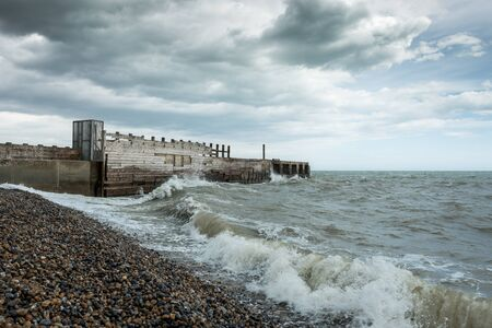 A stormy day at the beach in Rye, Kent, England