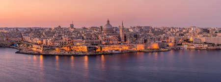 A beautiful panoramic of Valletta city, Malta, taken after sunrise at dusk.