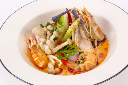favorite soup: Tom Yum Goong traditional food cuisine in Thailand