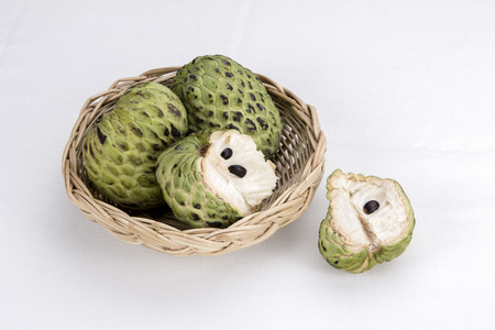 sweetsop: Sugar Apple custard apple, Annona, sweetsop on white background.