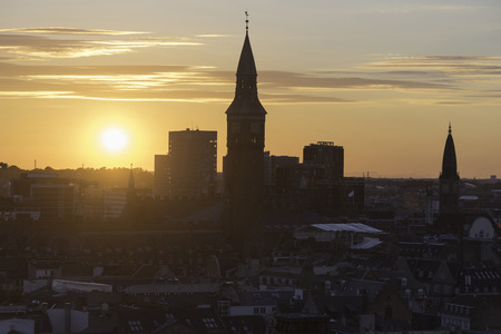 spiel: Skyline silhouette of Copenhagen at sunset Stock Photo