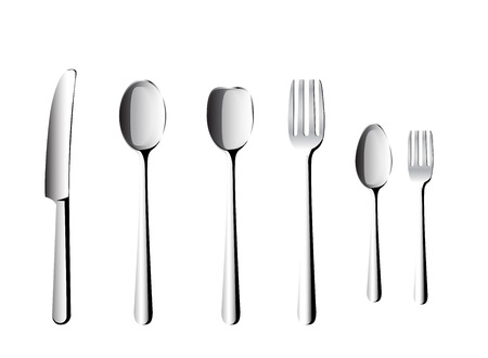 stainless steel kitchen: spoon and fork