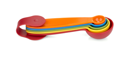 Colorful measuring spoons isolated on whitebackground Stock Photo
