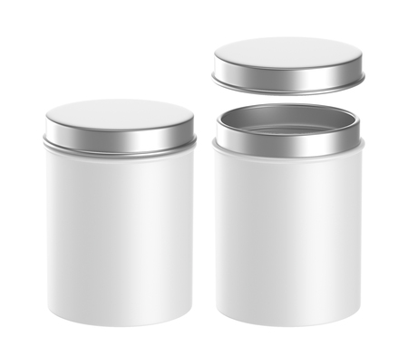 Metal box isolated on a white background, 3D rendering