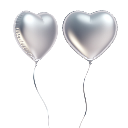 Silver heart shaped balloon isolated on white background, 3D rendering