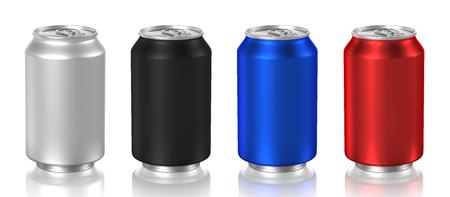 latas de aluminio aisladas sobre fondo blanco, 3D Foto de archivo
