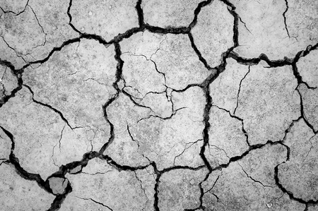 trenches: Monochrome soil surface dry and cracked the trenches.