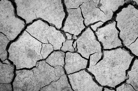 waterless: Monochrome soil surface dry and cracked the trenches.
