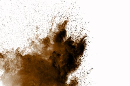Dry soil explosion on white background.