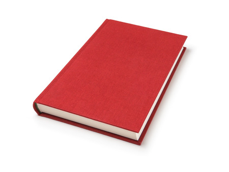 Red lying book isolated Stock Photo