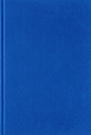 Blue book texture, vertical arrangement, fabric cover. Empty space. 스톡 콘텐츠