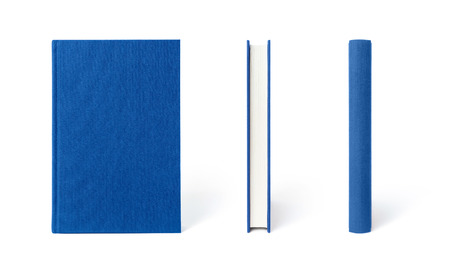 Blue standing hardcover book isolated from the three angles. Cover made of natural linen fabric with uneven rough texture.