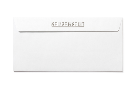 Simple blank white envelope isolated with numbers, back view