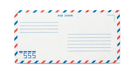 Blank airmail envelope isolated, with numbers, front view