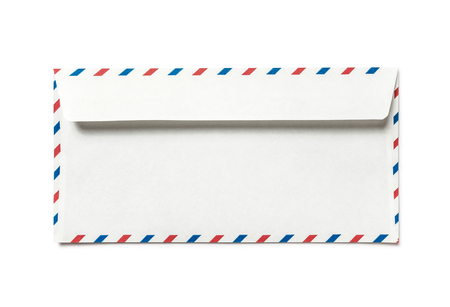 Blank airmail envelope isolated, rear view 스톡 콘텐츠