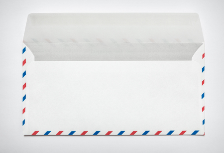 Blank airmail envelope on a white background, rear view 写真素材