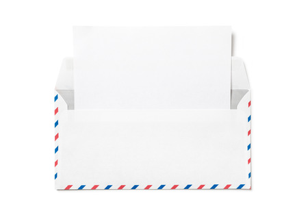 Open envelope with a sheet of white paper. Blank airmail envelope with blank template letter isolated. Back view