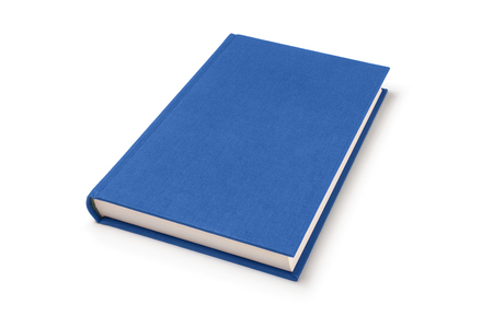 Blue lying book isolated, perspective view. Cover made of natural linen fabric with uneven rough texture.