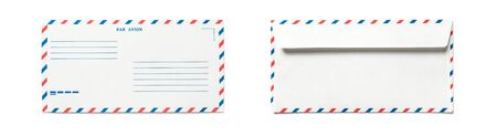 Blank airmail envelope isolated, front and back views. Set of double side.