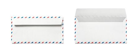 Blank airmail envelope isolated, rear view. Set of two envelopes with closed and open valve.
