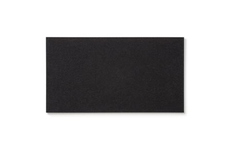 Blank black business card isolated on white background. Top view. Standard size. Stylish textured cardboard card for personal advertising or corporate design.