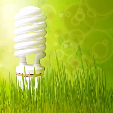 fluorescent tube: Save energy concept background abstract green