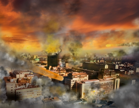 apocalypse: Apocalypse meteor storm Stock Photo