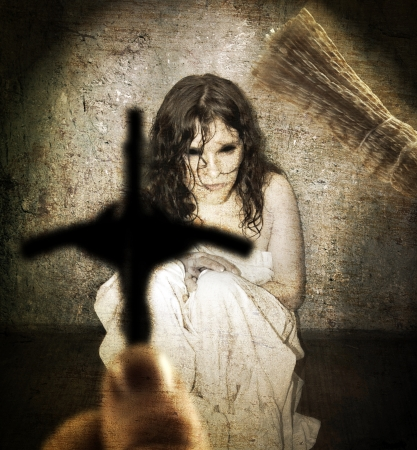 catholic mass: Exorcism and woman possessed by the devil Stock Photo