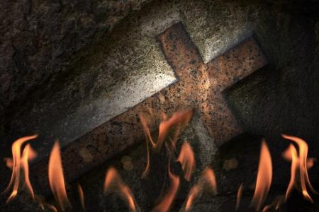 illuminati: Cross in fire abstract background Stock Photo