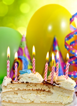 birth day: Birthday cake and candles background Stock Photo