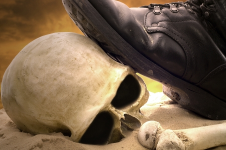 solider: Military shoes , skull and bones cruelty of war