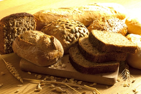 Bread wheat and rolls photo