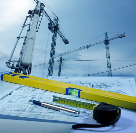 Construction and blueprints Stock Photo - 13714472
