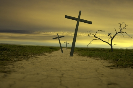 golgotha: cross abstract way of life Stock Photo